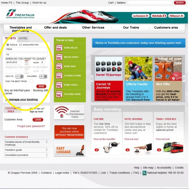 2012 03 26 Trenitalia Website Cover Page 01 highlighted journey 625x622 Trenitalia and Booking Online<br>Using the Trenitalia Website   Updated