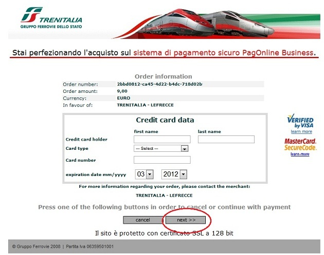 2012 03 26 Trenitalia Website Payment011 Trenitalia and Booking Online<br>Using the Trenitalia Website   Updated