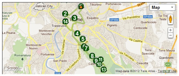 Archeobus Map Sundays Hop On/Hop Off Buses in Rome