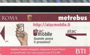 BTI – Integrated Tourist Ticket Tickets for the Bus, Metro, Trams, & Met.Ro Trains
