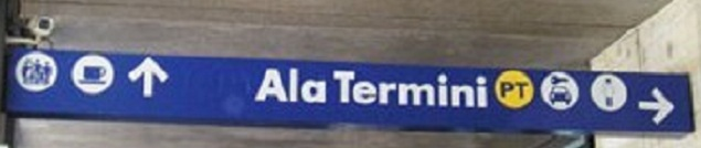 rome termini sign inside car rentala Arriving by Train   Roma Termini