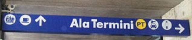 rome termini sign inside car rentala Arriving by Train   Roma Termini