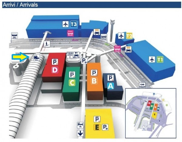 FCO Map Arrivi Arrivals2 Train Station Designated 600x469 The Train Station at the Rome Airport (FCO)
