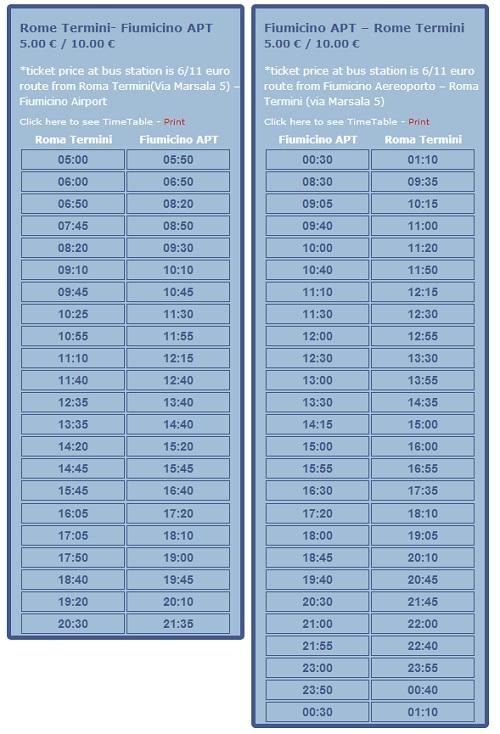 SITBUS FCO to Roma Termini Schedule SITBus Shuttle