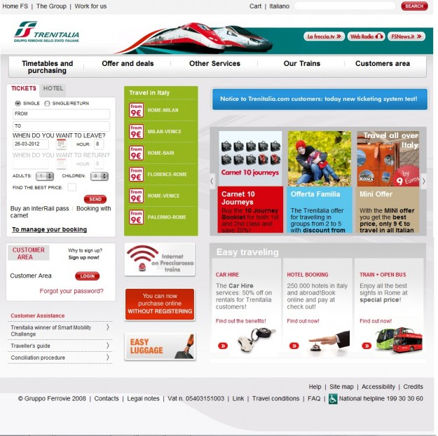 2012 03 26 Trenitalia Website Cover Page 01 full page 625x622  Booking on the Trenitalia Website