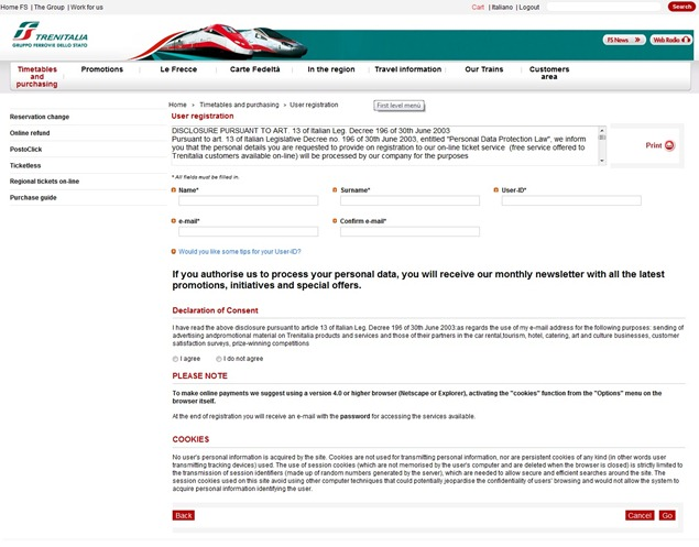 Trenitaliawebpage02A thumb  Booking on the Trenitalia Website