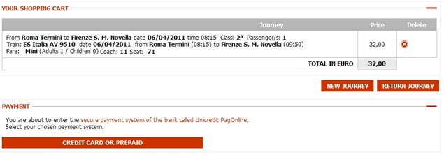 Trenitaliawebpage11b thumb  Booking on the Trenitalia Website