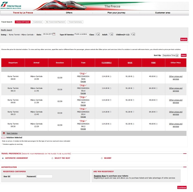Trenitaliawebpage21 thumb  Booking on the Trenitalia Website