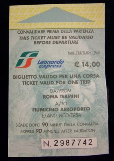 ticket thumb Leonardo Express – The Trenitalia Nonstop Train to the Fiumicino (FCO) Airport