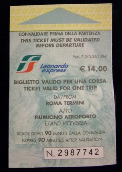 ticket thumb Leonardo Express – The Trenitalia Nonstop Train to the Fiumicino (FCO) Airport