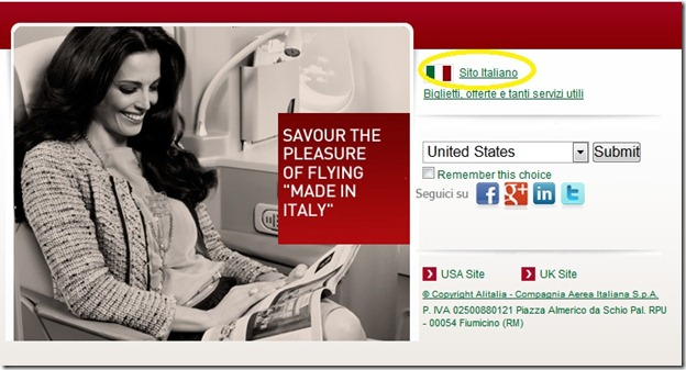 Alitalia - US  Site - choose country
