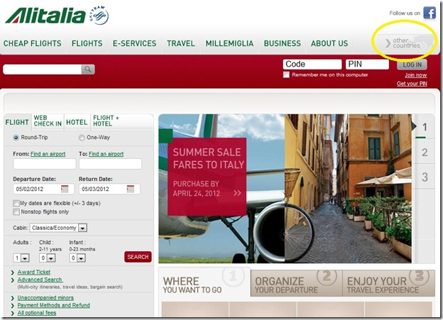 Alitalia - US  Site - home page