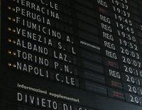 Trains in Italy station board Train Travel in Italy